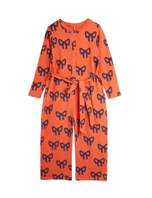 Mini Rodini Organic Cotton Bow All Over Print Jumpsuit Red
