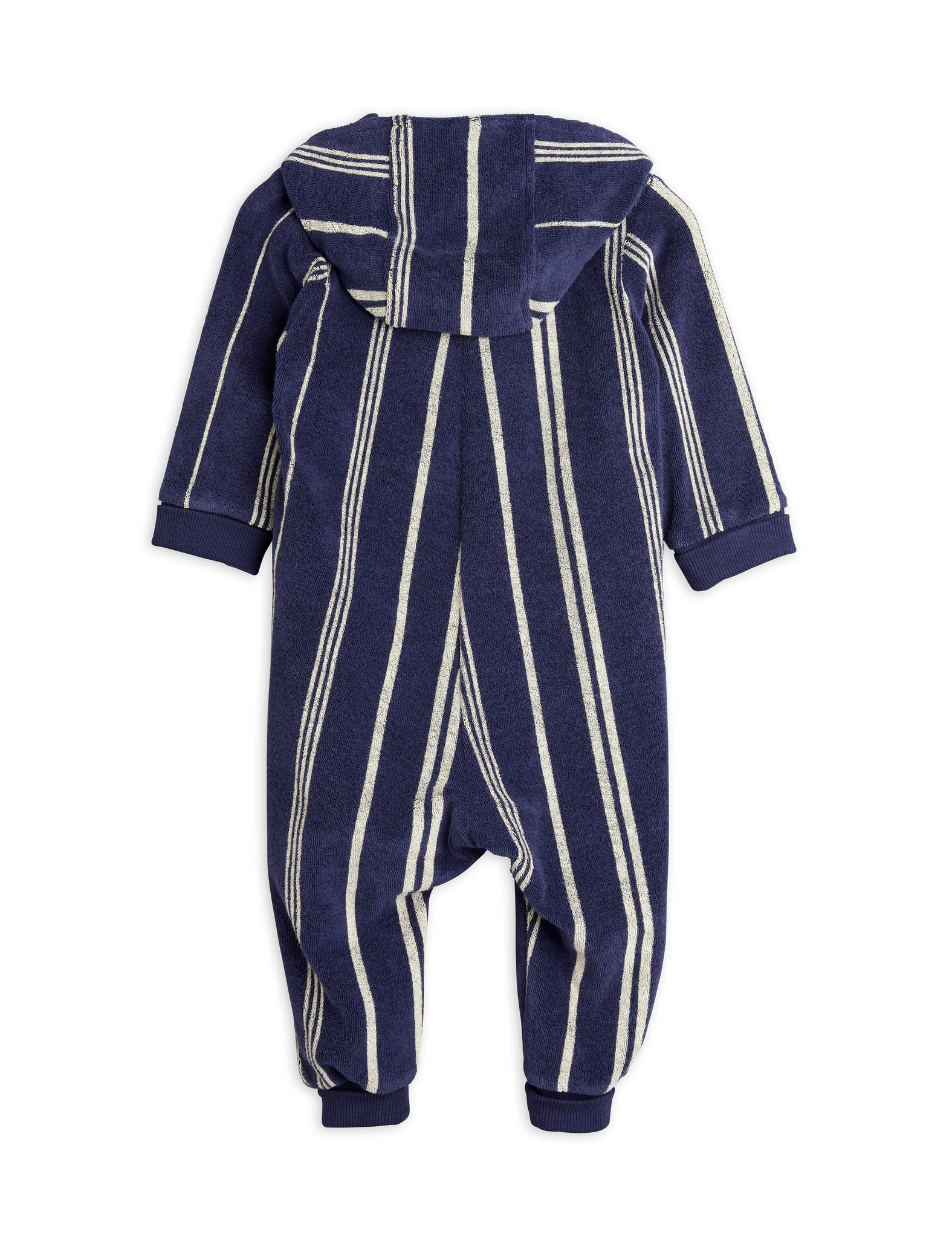 Mini Rodini Organic Cotton Turtle Terry Onsie Navy