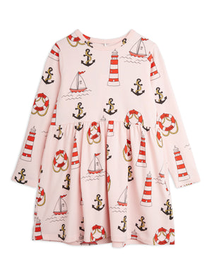 Mini Rodini Organic Cotton Lighthouse All Over Print Long Sleeve Dress Pink