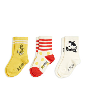 Mini Rodini Organic Cotton Orca 3-Pack Socks Multi Colour