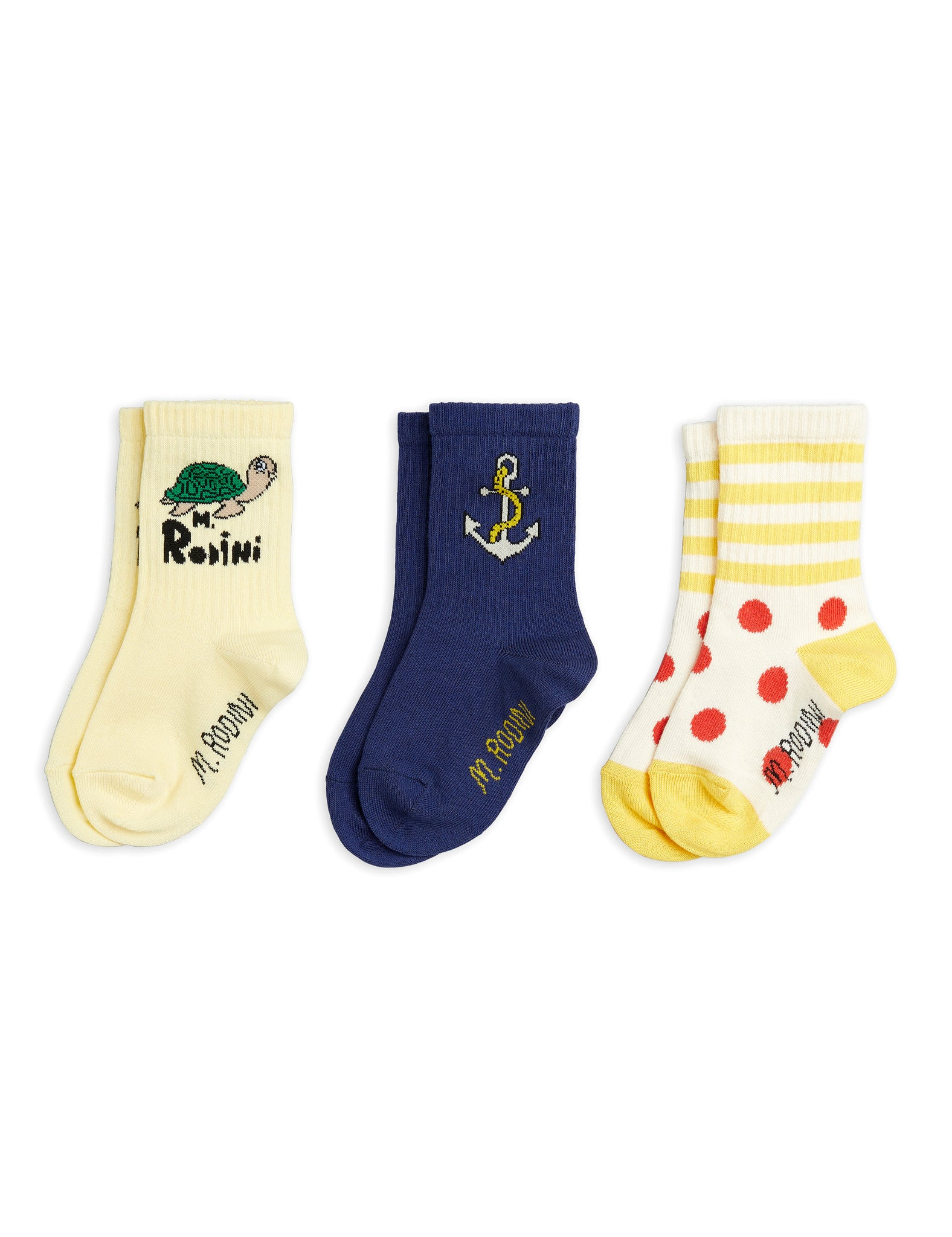 Mini Rodini Organic Cotton Anchor 3-Pack Socks Multi Colour