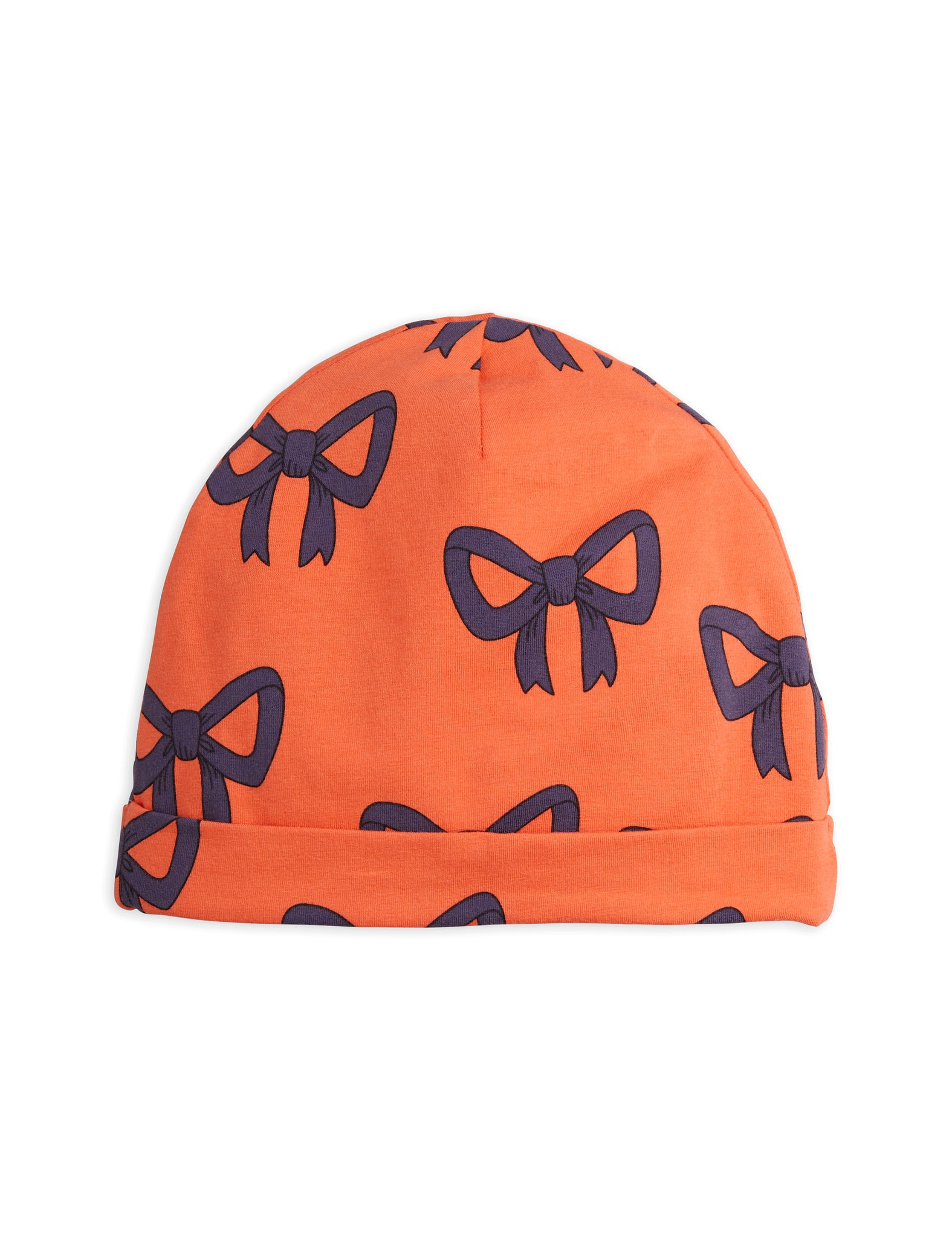 Mini Rodini Organic Cotton Bow All Over Print Beanie Red