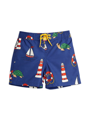 Mini Rodini Recycled Polyester Turtle Float Swim Shorts Navy