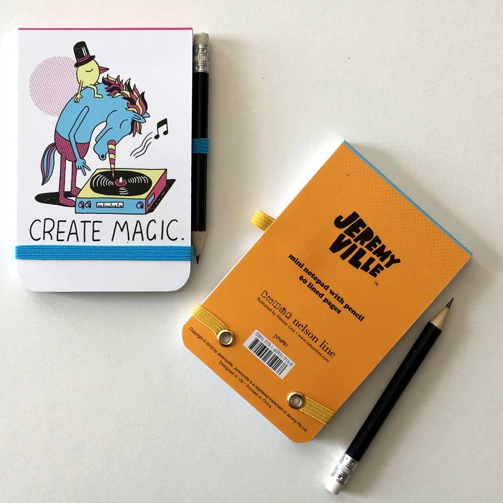 Jeremyville Community Service Announcements Note Pads with Pencils Create Magic / Let's Scribble