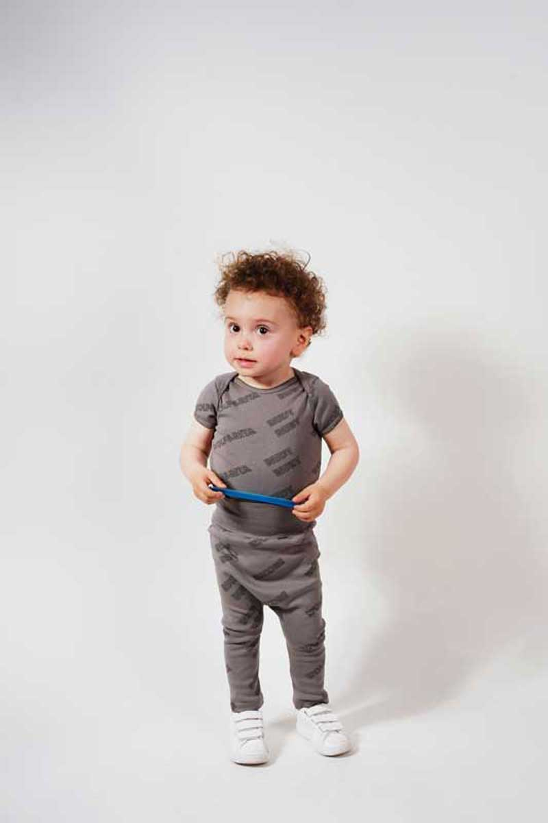 Wolf and Rita Diogo Rudy Ruby Grey Baby Short Sleeve Bodysuit