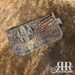 Zipper Pouch - Small - Brown & Copper Croc