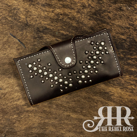 Bifold Wallet - Chocolate Leather & Silver Spots