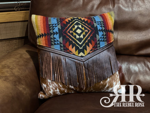 Pueblo Pendleton Wool & Cowhide Pillow (With Fringe)