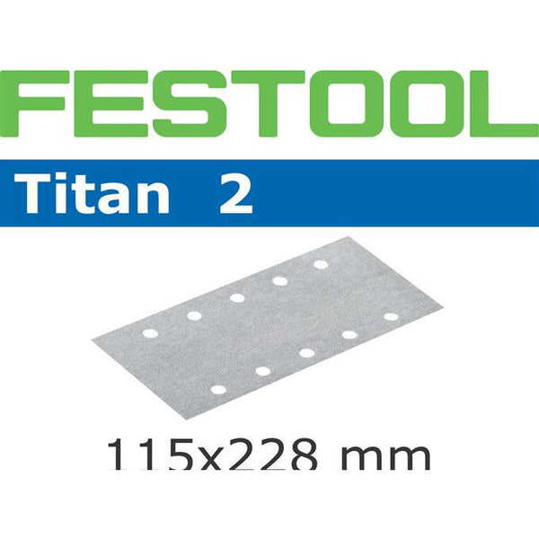 Festool 492740 Abrasives, 115mm x 228mm Titan2 P120 Grit, 100 Pack