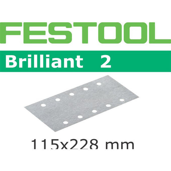 Festool 492827 Abrasives, 115mm x 228mm Brilliant2 P150 Grit, 100 Pack