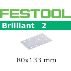 Festool 492851 Abrasives, 80mm x133mm Brilliant2 P100 Grit, 100 Pack