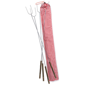 Set of 4 Hot Dog & Marshmallow Forks With Gingham Carry Bag