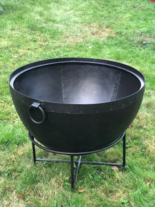 "Large Cauldron Style Steel Fie Pit With Stand Made In India Using Traditional Riveted Steel 27 1/4"" overall height x 31 7/8"" dia"