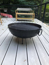 "Load image into Gallery viewer, 23.5"" Dia. Hand Riveted Steel Fire Pit Traditionally Made In India With Grill Grate and Stand"