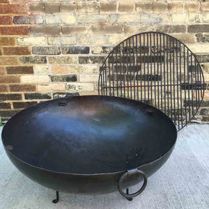 "Large 30.5"" Dia. Hand Riveted Steel Firebowl Fire Pit From India w/Grill Grate & Stand"