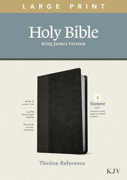 KJV Large Print Thinline Reference Filament Enabled Black Leatherlike by Tyndale