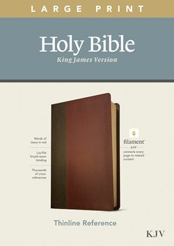 KJV Large Print Thinline Reference Filament Enabled Brown Leatherlike by Tyndale