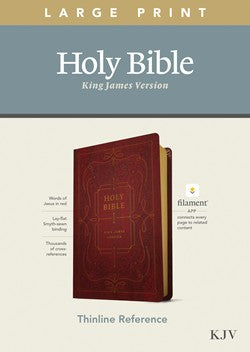 KJV Large Print Thinline Reference Filament Enabled Burgundy Leatherlike Tyndale