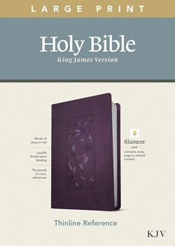 KJV Large Print Thinline Reference Filament Enabled Purple Leatherlike by Tyndale