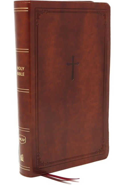 NKJV Compact End-of-Verse Reference Brown Imitation Thomas Nelson
