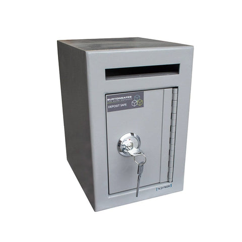Burton Teller Mini Single Key Safe Graphite Colour Showing Key Lock and Deposit Slot and Closed Door