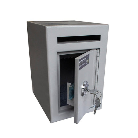 Burton Teller Mini Single Key Safe Graphite Colour Showing Key Lock and Deposit Slot and open Door