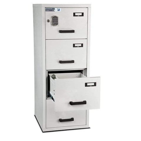Image of Burton Fire Resistant Anti-Tilt 4 Drawer Electronic Filing Cabinet