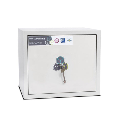 Burton Eurovault Aver S2 Cash & Jewellery White Safe With Key Lock