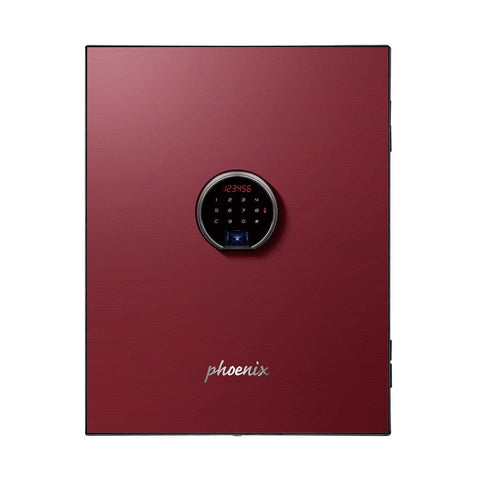 Image of Phoenix Plus Luxury Fire Safe with Red Door Panel and Electronic Lock