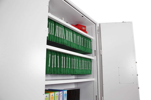 Image of Phoenix Fire Ranger 2 Shelve White Fireproof Cupboard, Key Lock