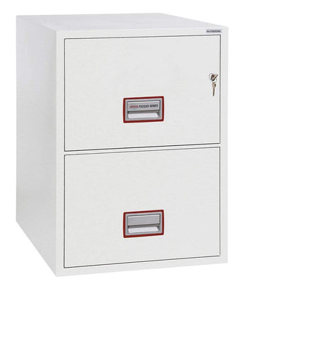 Image of Phoenix World Class Fireproof 2 Drawer Filing Cabinet, Key Lock, White