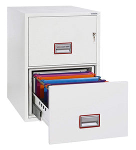 Phoenix World Class Fireproof 2 Drawer Filing Cabinet, Key Lock, White