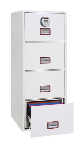 Image of World Class Fireproof Filing Cabinet 4 Drawer With Key Lock, White