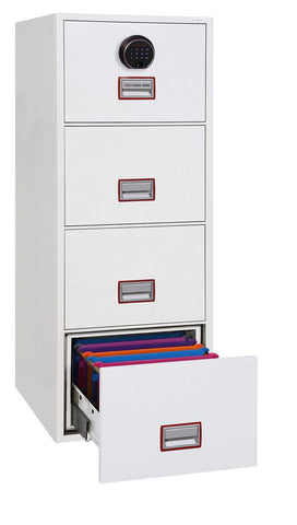 Image of World Class Vertical 4 Drawer Filing Cabinet with Fingerprint Lock