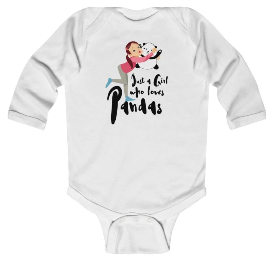 """Just a Girl Who Loves Pandas"" Baby Long Sleeve Bodysuit"