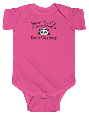 """Never Give Up"" Baby's Short Sleeve Fine Jersey Bodysuit"