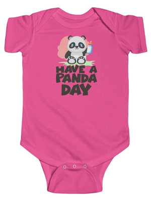 """Have A Panda Day"" Baby's Short Sleeve Fine Jersey Bodysuit"