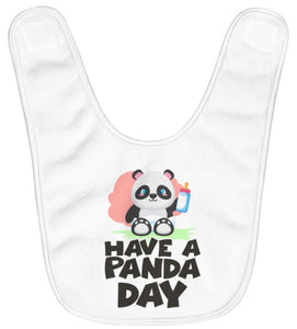 """Hava A Panda Day"" Fleece Baby Bib"