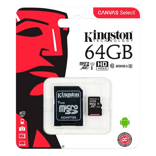 Kingston 64GB MicroSD Card Class10 with SD Adapter - SDCS/64GB - ECS Online Store