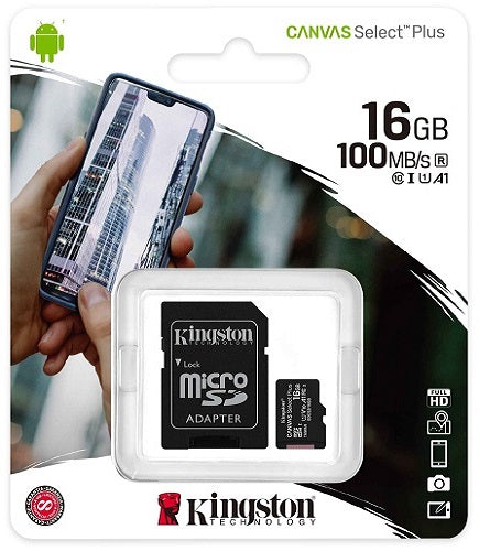 Kingston 16GB MicroSD Card Class10 with SD Adapter - SDCS2/16GB