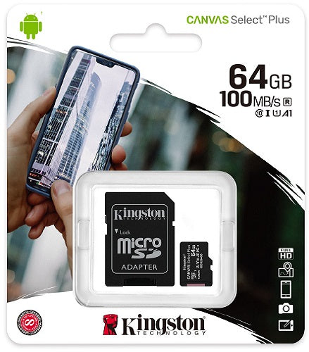 Kingston 64GB MicroSD Card Class10 with SD Adapter - SDCS2/64GB