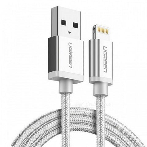 UGREEN Apple MFi Certified 2.4A Fast Charging Lightning Cable 1M Silver