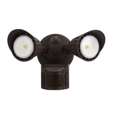 Security Light 2 Head 2000lm  80CRI 5000K Sensor Bronze