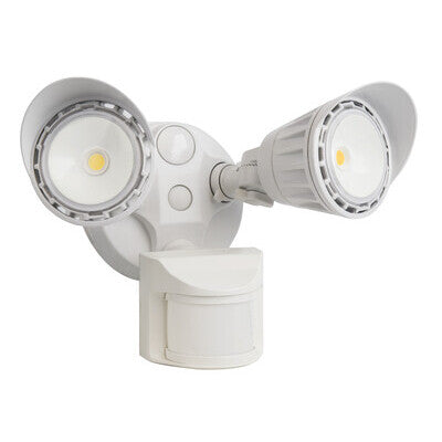 Security Light 2 Head 2000lm 20W  180Deg Sensor White