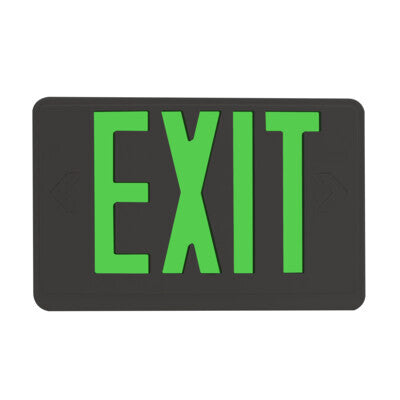 Exit Sign Green Black Housing