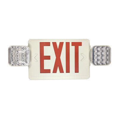 Exit Sign Red with Emergency Light White Housing