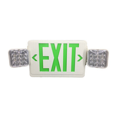 Exit Sign Green with Emergency Light White Housing