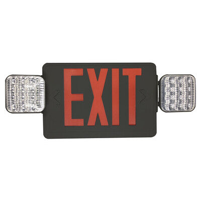 Exit Sign Red with Emergency Light Black Housing
