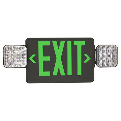 Exit Sign Green with Emergency Light Black Housing