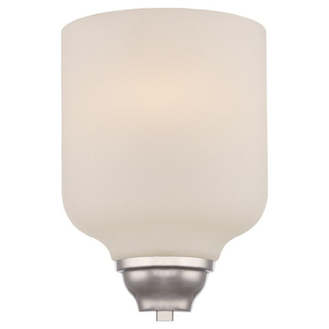 1-Light LED Wall Sconce in Polished Nickel Finish with Etched Opal Glass